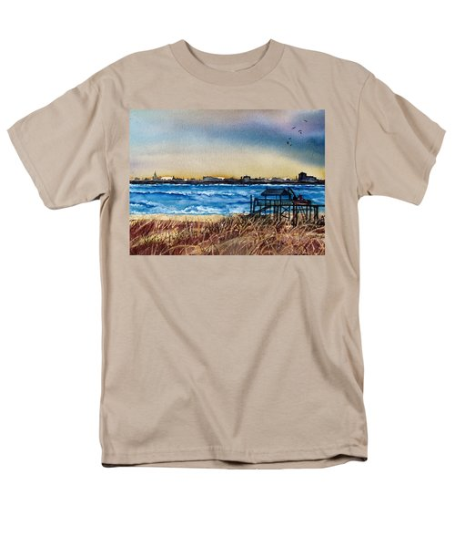 Men's T-Shirt  (Regular Fit) featuring the painting Charleston At Sunset by Lil Taylor