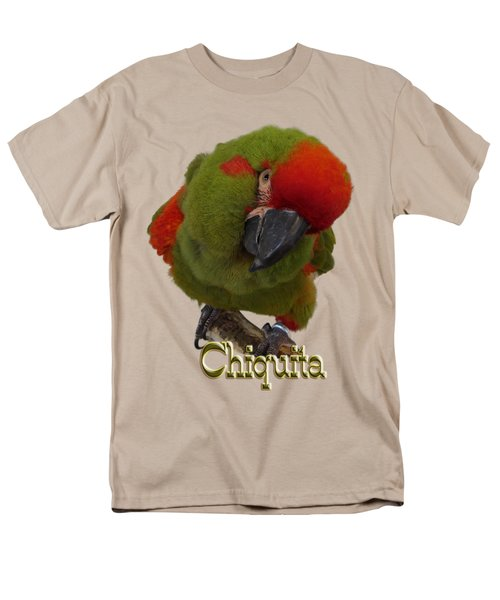 Chiquita, A Red-front Macaw Men's T-Shirt  (Regular Fit) by Zazu's House Parrot Sanctuary