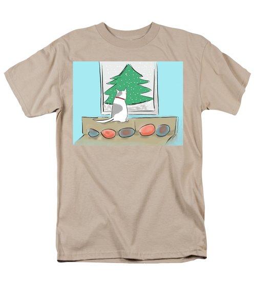 Christmas Cat Men's T-Shirt  (Regular Fit) by Haleh Mahbod