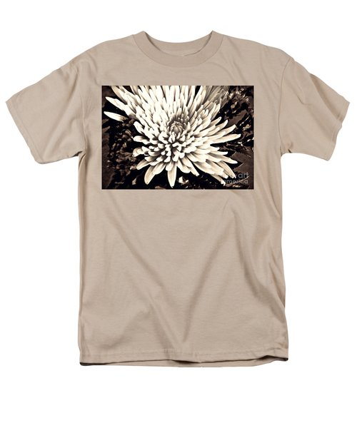 Men's T-Shirt  (Regular Fit) featuring the photograph Chrysanthemum In Sepia 2  by Sarah Loft