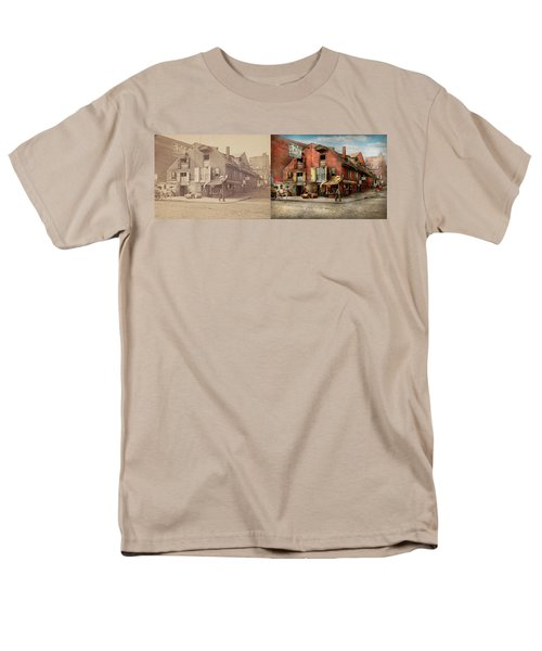 Men's T-Shirt  (Regular Fit) featuring the photograph City - Pa - Fish And Provisions 1898 - Side By Side by Mike Savad