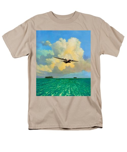 Men's T-Shirt  (Regular Fit) featuring the painting Clipper Over The Islands by David  Van Hulst