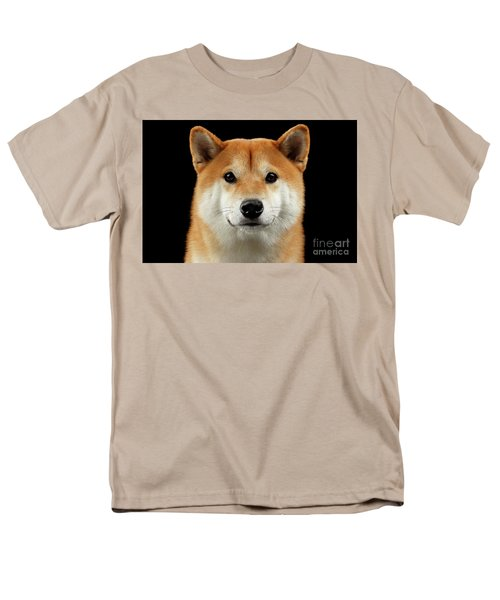 Close-up Portrait Of Head Shiba Inu Dog, Isolated Black Background Men's T-Shirt  (Regular Fit) by Sergey Taran