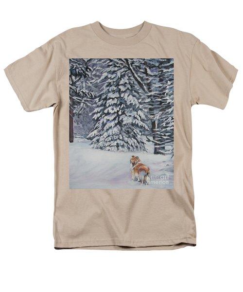 Collie Sable Christmas Tree Men's T-Shirt  (Regular Fit) by Lee Ann Shepard