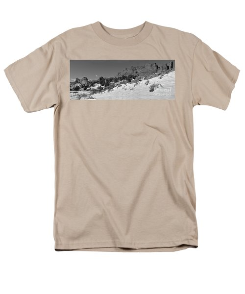 Men's T-Shirt  (Regular Fit) featuring the photograph Colorado Winter Rock Garden Black And White by Adam Jewell