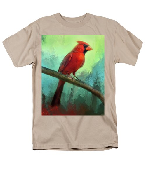 Men's T-Shirt  (Regular Fit) featuring the photograph Colorful Cardinal by Barbara Manis