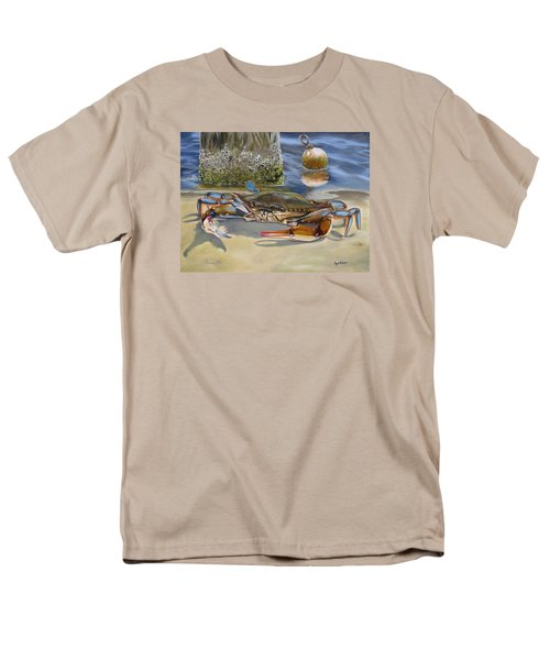 Men's T-Shirt  (Regular Fit) featuring the painting Crab On The Shoreline by Phyllis Beiser