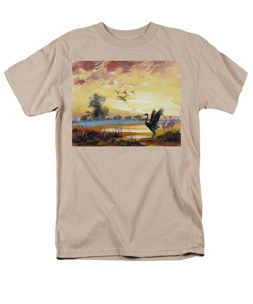 Cranes - Evening Flight Men's T-Shirt  (Regular Fit) by Irek Szelag