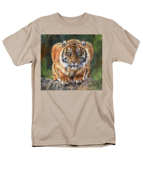 Men's T-Shirt  (Regular Fit) featuring the painting Crouching Tiger by David Stribbling
