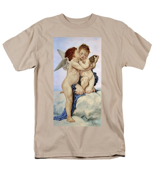 Cupid And Psyche Reproduction William Adolphe Bouguereau  Men's T-Shirt  (Regular Fit) by Heidi Kriel