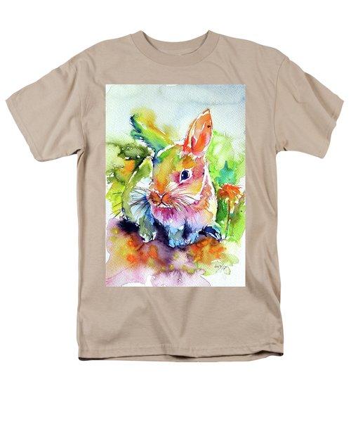 Men's T-Shirt  (Regular Fit) featuring the painting Cute Rabbit by Kovacs Anna Brigitta