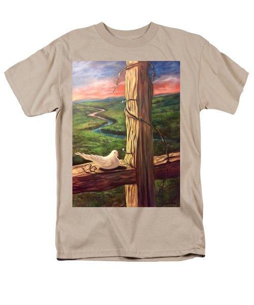 Men's T-Shirt  (Regular Fit) featuring the painting Dove On A Cross  Paloma  En Una Druz by Randol Burns