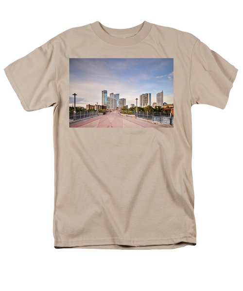 Downtown Austin Skyline From Lamar Street Pedestrian Bridge - Texas Hill Country Men's T-Shirt  (Regular Fit) by Silvio Ligutti