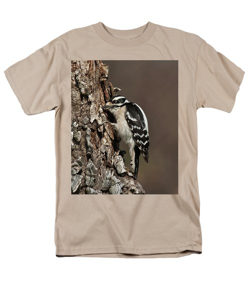 Men's T-Shirt  (Regular Fit) featuring the photograph Downy Woodpecker's Secret Stash by Lara Ellis