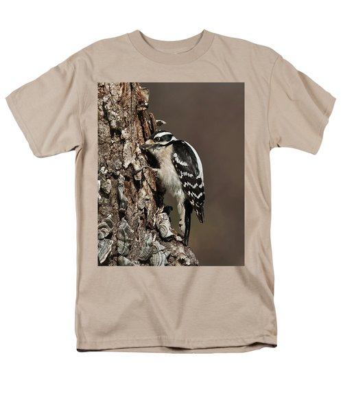 Downy Woodpecker's Secret Stash Men's T-Shirt  (Regular Fit)