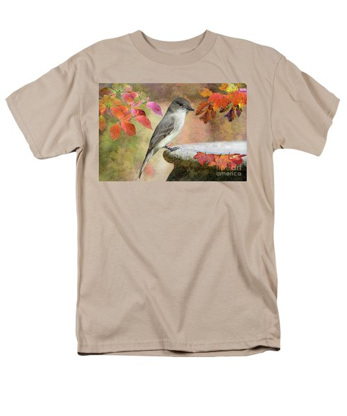 Men's T-Shirt  (Regular Fit) featuring the photograph Eastern Phoebe In Autumn by Bonnie Barry