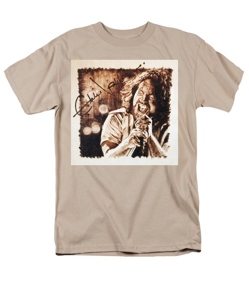 Men's T-Shirt  (Regular Fit) featuring the pyrography Eddie Vedder by Lance Gebhardt