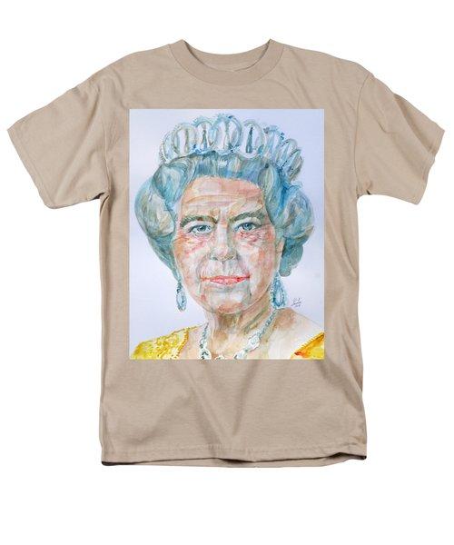 Men's T-Shirt  (Regular Fit) featuring the painting Elizabeth II - Watercolor Portrait.2 by Fabrizio Cassetta