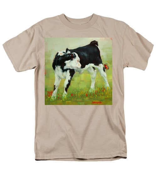 Men's T-Shirt  (Regular Fit) featuring the painting Elly The Calf And Friend by Margaret Stockdale