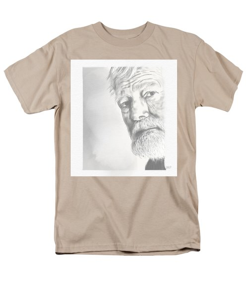 Men's T-Shirt  (Regular Fit) featuring the drawing Ernest Hemingway by Antonio Romero