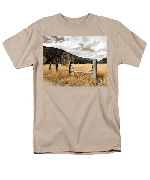 Men's T-Shirt  (Regular Fit) featuring the photograph Fallowfield Weathered Fence Rocky Mountain National Park Dramatic Sky by John Stephens