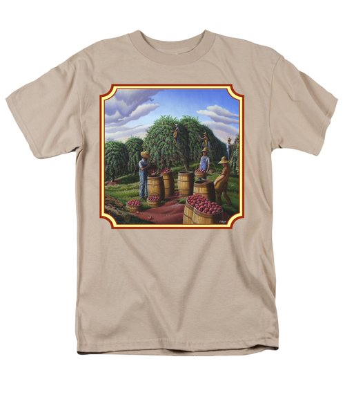 Farm Americana - Autumn Apple Harvest Country Landscape - Square Format Men's T-Shirt  (Regular Fit) by Walt Curlee
