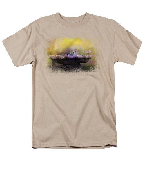 Finches On The Bird Bath Men's T-Shirt  (Regular Fit)