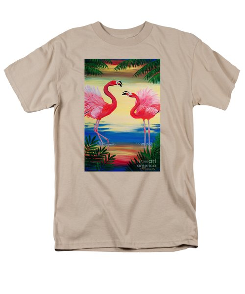 Men's T-Shirt  (Regular Fit) featuring the painting Flamingo Courtship Dance by Patricia L Davidson