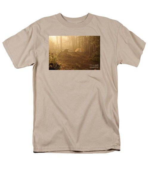 Men's T-Shirt  (Regular Fit) featuring the photograph Foggy Morning At The Campsite by Larry Ricker