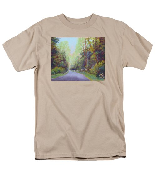 Men's T-Shirt  (Regular Fit) featuring the painting Forest Road by Nancy Jolley