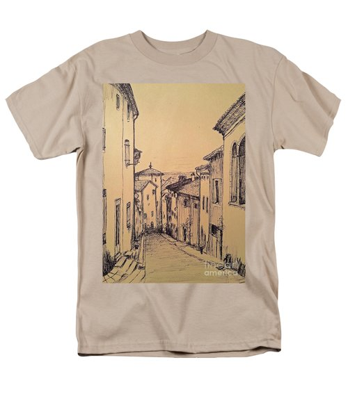Men's T-Shirt  (Regular Fit) featuring the drawing French Little Town Drawing by Maja Sokolowska