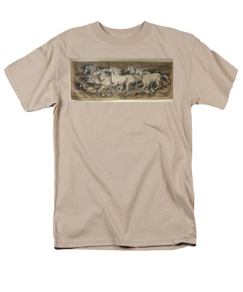 Men's T-Shirt  (Regular Fit) featuring the drawing Galloping Stallions by Debora Cardaci