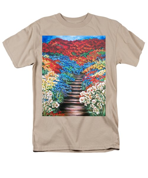 Men's T-Shirt  (Regular Fit) featuring the painting Garden Cascade by Sigrid Tune