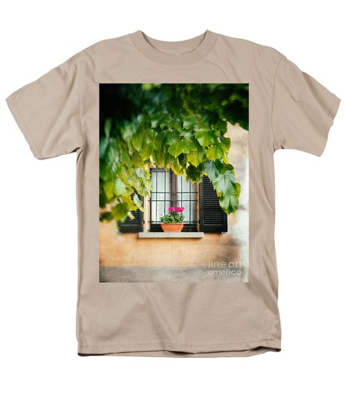 Men's T-Shirt  (Regular Fit) featuring the photograph Geraniums On Windowsill by Silvia Ganora