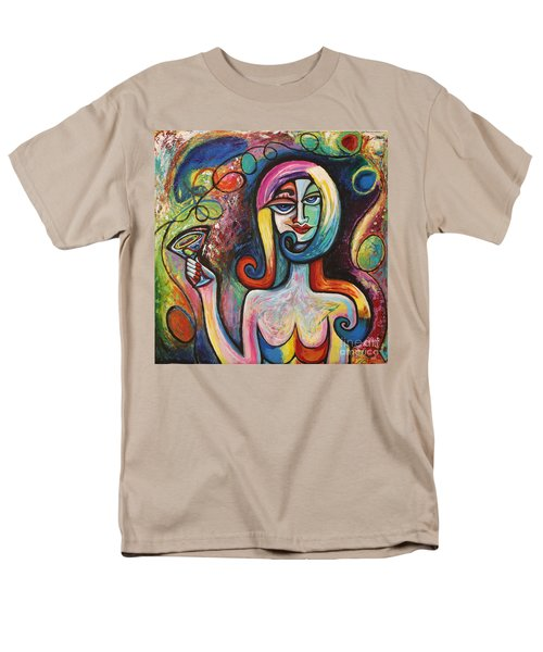 Men's T-Shirt  (Regular Fit) featuring the painting Girl With Martini Cocktail Abstract by Genevieve Esson