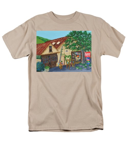 Men's T-Shirt  (Regular Fit) featuring the painting Glass Blower Shop Harmony California by Katherine Young-Beck