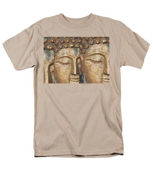 Golden Faces Of Buddha Men's T-Shirt  (Regular Fit) by Linda Prewer