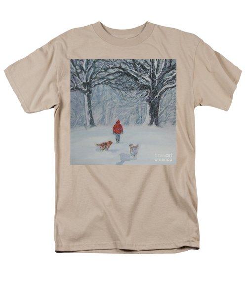 Golden Retriever Winter Walk Men's T-Shirt  (Regular Fit) by Lee Ann Shepard