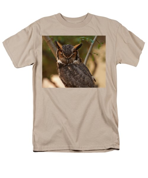 Men's T-Shirt  (Regular Fit) featuring the photograph Great Horned Owl In A Tree 2 by Chris Flees