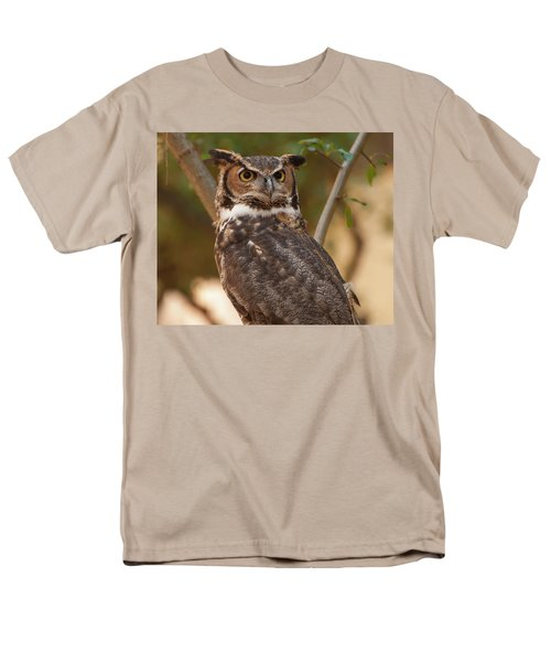 Men's T-Shirt  (Regular Fit) featuring the photograph Great Horned Owl In A Tree 3 by Chris Flees