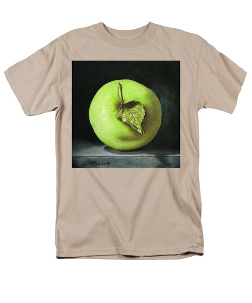 Men's T-Shirt  (Regular Fit) featuring the painting Green Apple With Leaf by Marna Edwards Flavell
