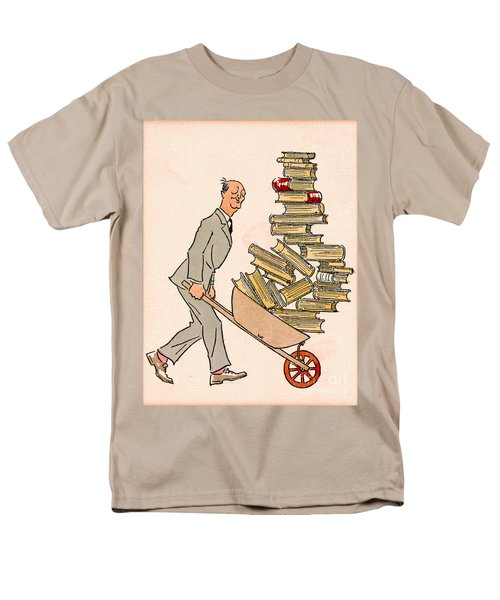 Men's T-Shirt  (Regular Fit) featuring the drawing Happy Bibliophile 1930 by Padre Art