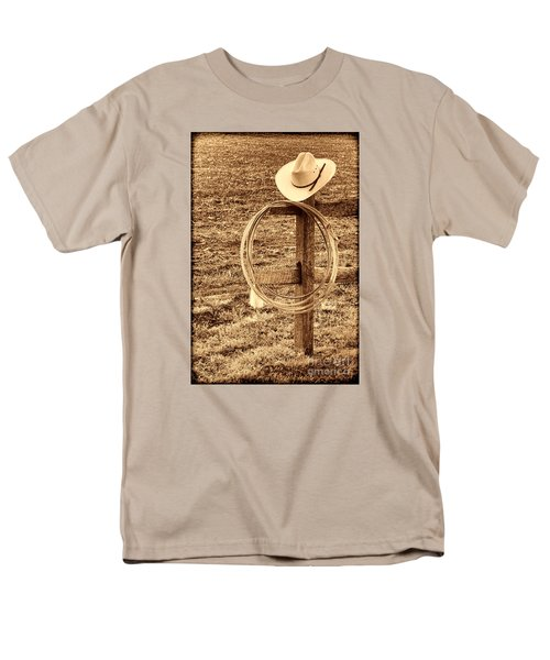 Hat And Lariat On A Post Men's T-Shirt  (Regular Fit) by American West Legend By Olivier Le Queinec