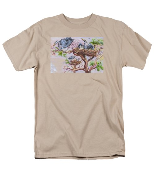 Men's T-Shirt  (Regular Fit) featuring the painting Herons At Nests by Dawn Senior-Trask