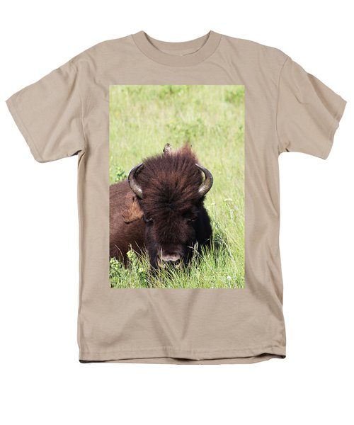 Men's T-Shirt  (Regular Fit) featuring the photograph Hey There Is A Bird On Your Head by Alyce Taylor
