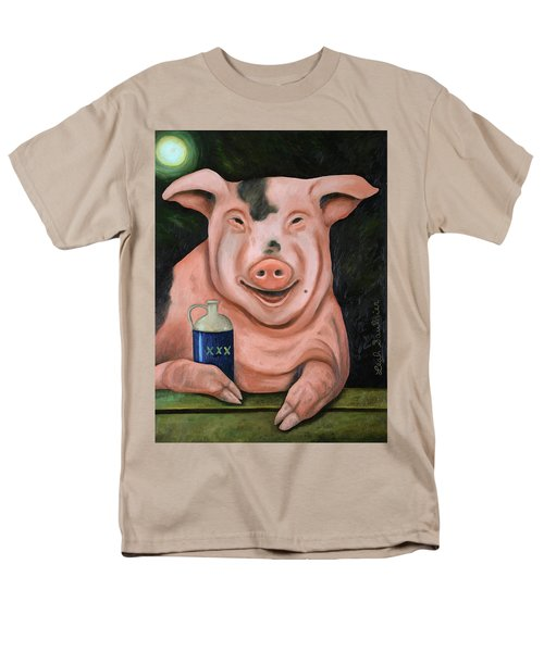Men's T-Shirt  (Regular Fit) featuring the painting Hogging The Moonshine by Leah Saulnier The Painting Maniac