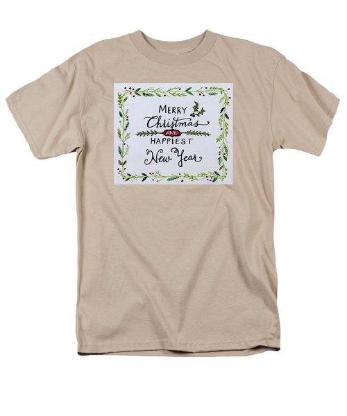 Holly Berry Merry Christmas Men's T-Shirt  (Regular Fit) by Elizabeth Robinette Tyndall