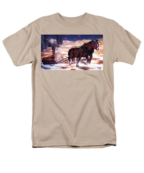 Horses Pulling Log Men's T-Shirt  (Regular Fit) by Curtiss Shaffer