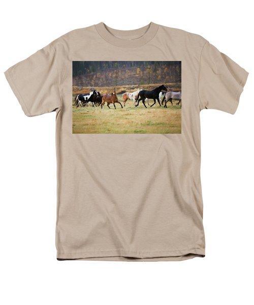 Men's T-Shirt  (Regular Fit) featuring the photograph Horses by Sharon Jones