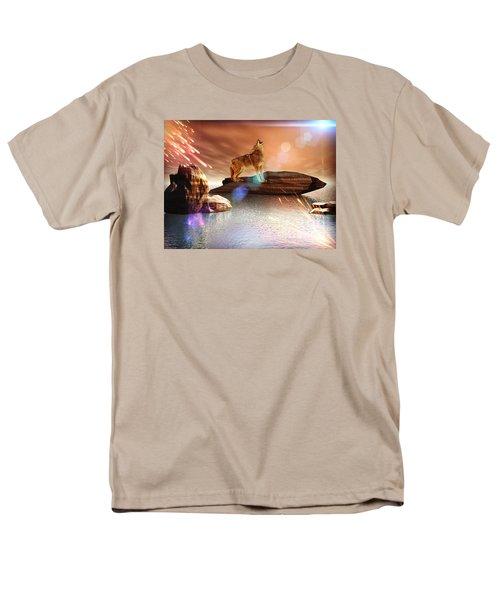 Men's T-Shirt  (Regular Fit) featuring the digital art Howling Wolf Tropical by Jacqueline Lloyd
